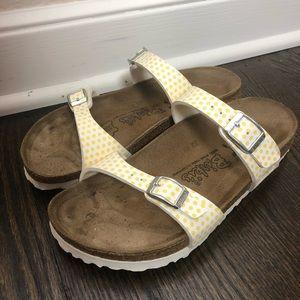 Birkenstock White and Yellow Polka Dot Sandals
